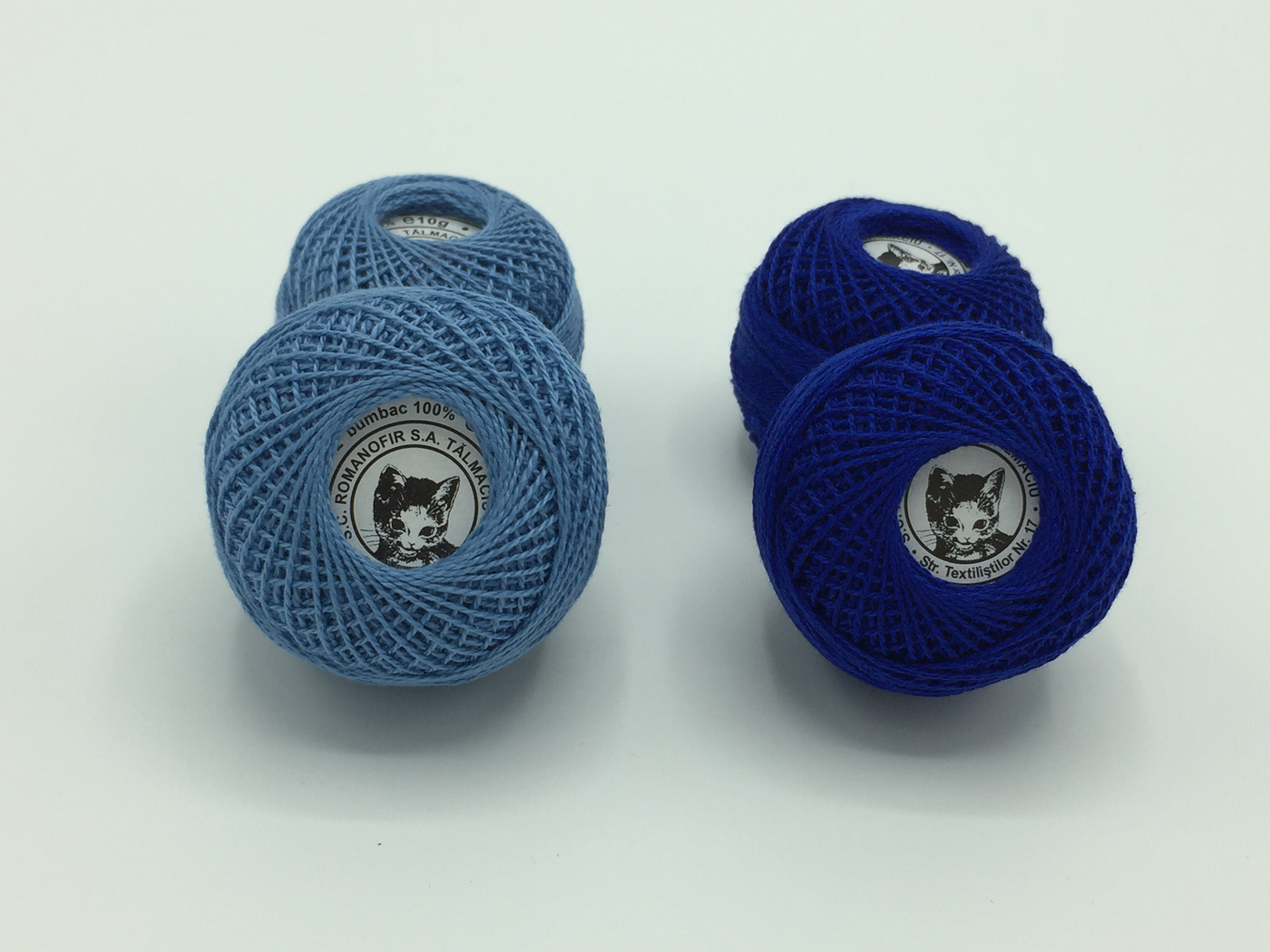 Ata cotton-perle 100% bumbac - Albastru - 10 gheme - Romanofir 20/2