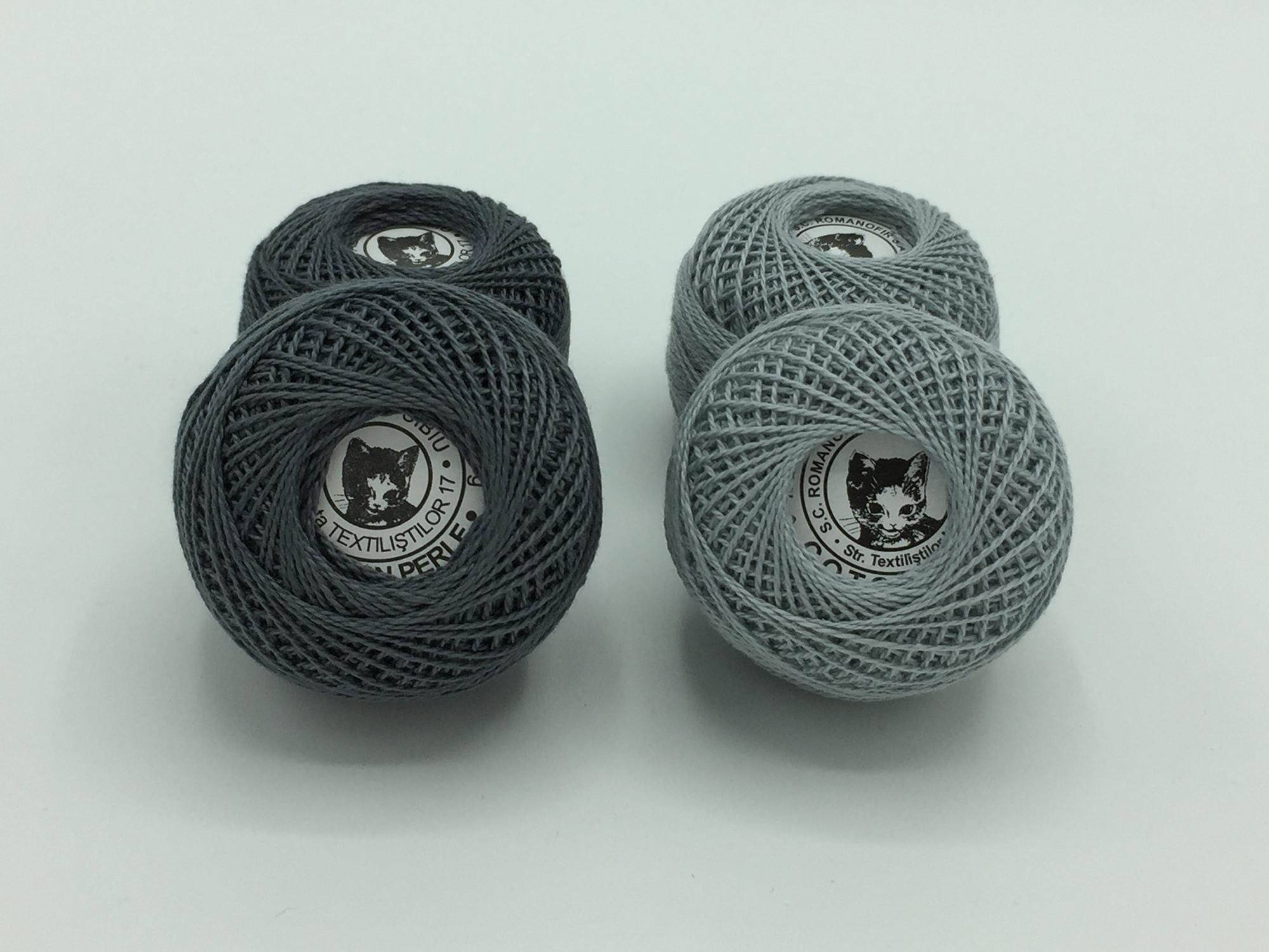 Ata cotton-perle 100% bumbac - Gri - 10 gheme - Romanofir 20/2