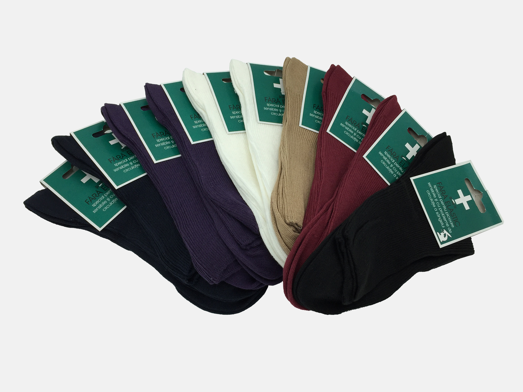 Sosete dama medicinale 100% Bumbac - Multicolor - set 10 perechi - Ciserom 8256