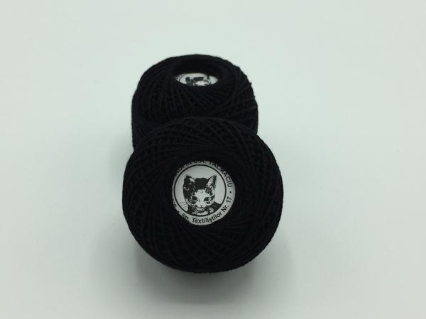 Ata cotton-perle 100% bumbac - Negru - 10 gheme - Romanofir 20/2