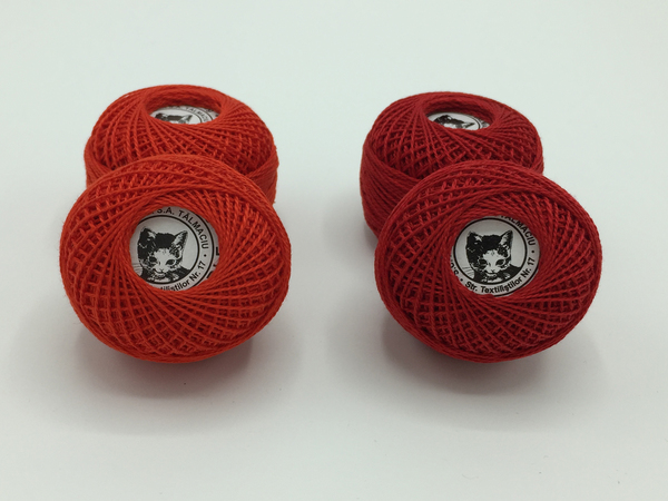 Ata cotton-perle 100% bumbac - Rosu - 10 gheme - Romanofir 20/2