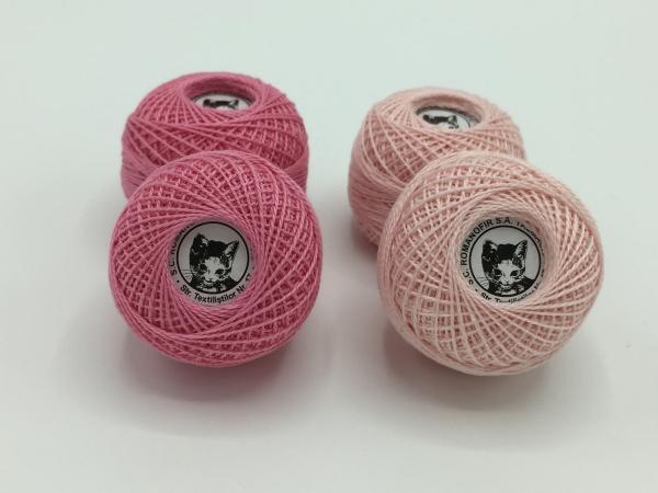 Ata cotton-perle 100% bumbac - Roz - 10 gheme - Romanofir 20/2