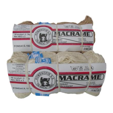 Ata macrame scul 100% bumbac - Bej - 10 sculuri - Romanofir 40/6