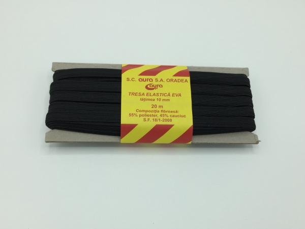 Tresa elastic - Negru - 20 ml - Aura 10 mm
