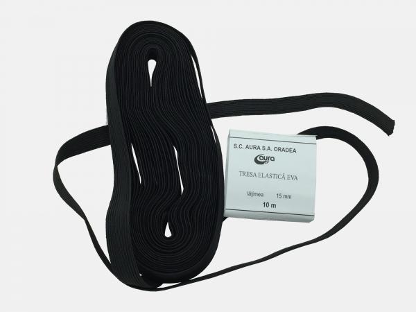 Tresa elastic - Negru - 10 ml - Aura 15 mm