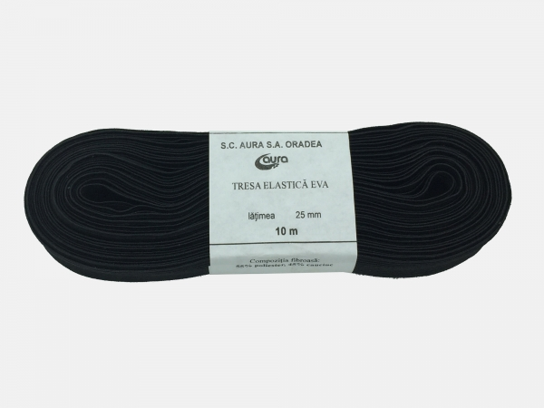 Tresa elastic - Negru- 10 ml - Aura 25 mm