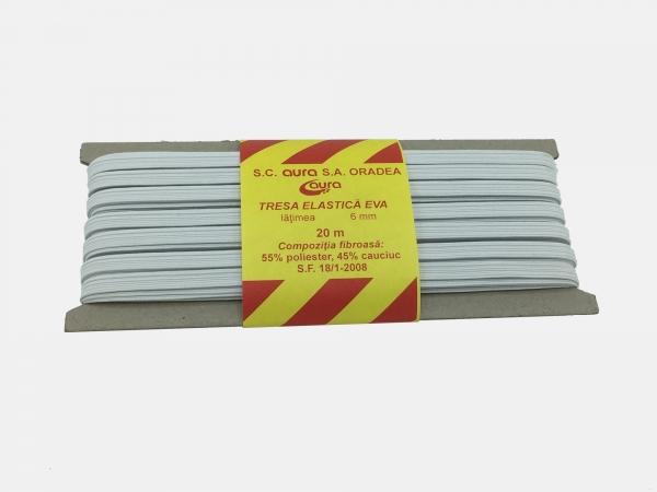 Tresa elastic - Alb - 20 ml - Aura 6 mm