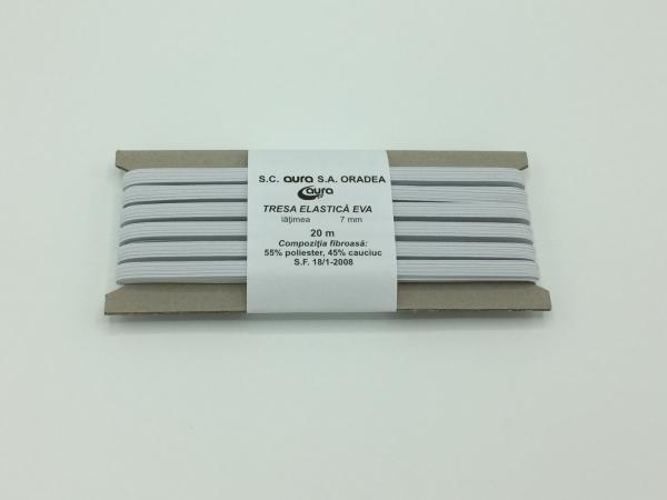 Tresa elastic - Alb - 20 ml - Aura 7 mm