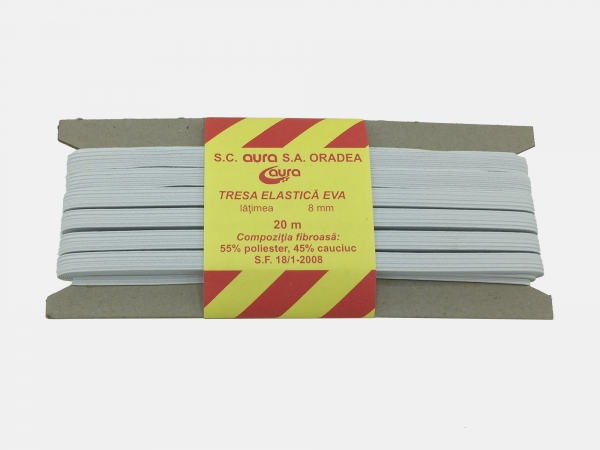 Tresa elastic - Alb - 20 ml - Aura 8 mm